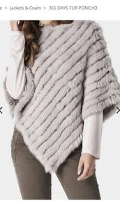 365 Days Stone Colour Rabbit Fur Poncho One Size EUC