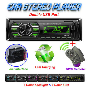 1Din Bluetooth Car Stereo Audio FM Radio MP3 Player SD TF USB AUX + SWC Remote