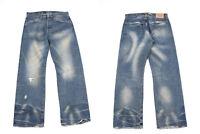 Levi's 542 Breit Gerades Bein Blau Denim Vintage Distressed Herren Jeans W32 L32