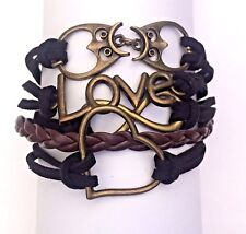 Multi Strand Owl Love Theme Bracelet Heart Infinity Love Symbols Suede And Braid