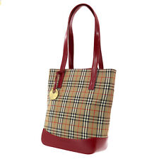 Burberry Classic Check Hand Bag Beige Red Canvas Leather Authentic #FF672 O