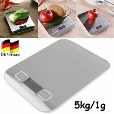 LCD Küchenwaage Briefwaage Edelstahl 1g genau - Digital Haushaltswaage 5Kg/1g DE