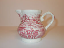 Pink and White Milk Jug Cream Jug Creamer Vintage Style Pictorial Design Lovely