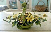 Antique Tole Flowers, Metal Gilt Bouquet with Porcelain Toleware Roses, Vintage