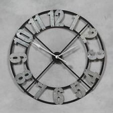 Large Industrial Style Black & Galvanised Metal Skeleton Clock 102 cm Diameter