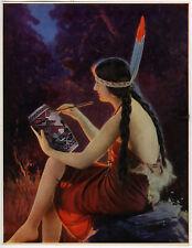 Rare Beautiful L. Goddard Print Native Indian Maiden Pin Up Girl Vintage 1930s