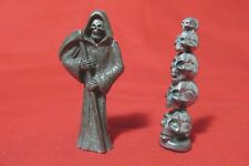 Pewter Grim Reaper With A Stack Of Skulls  Figurine