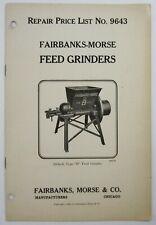 Fairbanks Morse Hit Miss Engine Feed Grinder Equipment Catalog Price List 1924