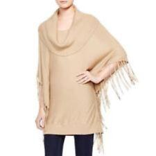 Nwt Michael Kors Women's Cowl Neck Fringe Poncho Sweater (Camel) Size M-$99.50