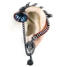 SteamPunk Gothic Victorian His Masters Voice Ear-Trumpet Stud Pewter Earring NEW
