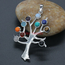 Silver Plated Natural 10 Stone Beads Tree Of Life Chakra Healling Piont Pendant