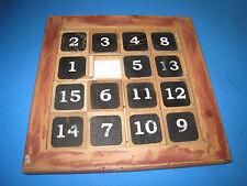 """Sliding 15 Number Puzzle Vintage  rare Large Wood 10.5"""" Slide   21K3"""