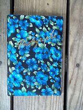 Vintage Photograph Album Bright BLUE Floral 13 Pages Spiral Bound Japan Photo