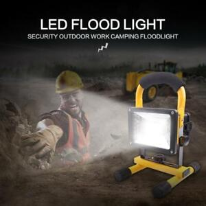 LED Rechargeable Cordless Work Site Flood Light Portable Camping Lamp 30W UK