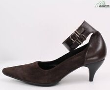 Anteprima Brown Suede/Leather Ankle Strap Low Pumps Shoes 35.5/5.5