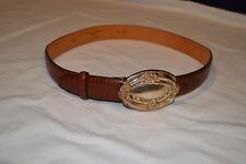 BRIGHTON womens brown leather Belt size M 28 / 29 Italian Embossed Cowhide