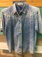 Vintage 80s Womens Size Small Acid Wash Denim Shirt Pretty Bleu Floral Sequin