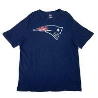 New England Patriots T-Shirt Men's Size XL Blue Short Sleeve Majestic NFL Tee