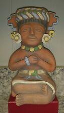 Vintage Clay Statue Aztec Mayan Tribal Folk Art Figurine Figure Pottery Statue