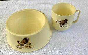 Vintage Yellow Tommee Tippee Weighted Cup & Suction Cup Bowl Set No Lid For Cup