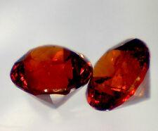 2 GRENAT SPESSARTITE taille rond 3 mm 0,32 cts paire - pierres précieuses fines