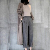 Women Long Cardigan Trench Coat Loose Large Size Cashmere Blend Knitted Coat Hc