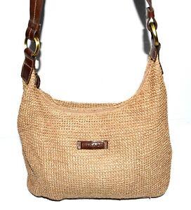 Strada Beige Basket Weave Brown Faux Leather Strap Hobo Bag