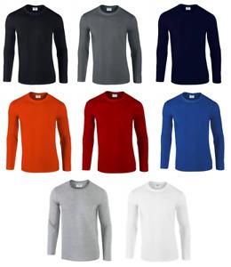 Gildan Men Softstyle 100% Cotton Long Sleeve T-Shirt Adult Plain Casual Top GD11