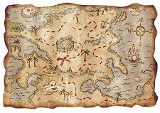 Treasure Map Pirate Wallpaper Edible Decor Icing Sheet Cake Toppers