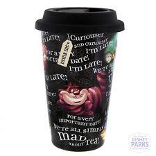 "Disney Parks Alice In Wonderland ""Quotes"" Ceramic Travel Mug Black Tumbler"