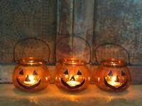 Jack O Lantern Pumpkins Candle Holder Tealights Primitive Halloween Decor Set 3