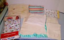 Vtg Baby Doll Quilt receiving blanket Waffle knit Satin Trim Embroidered Lot