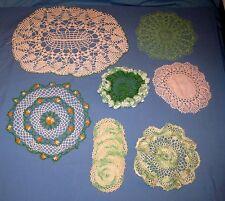 Lot 12 VTG Hand CROCHET DOILY/Doilies/Table Scarfs/Coasters GREEN/WHITE!