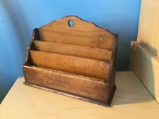 Antique graduated 3 division wooden letter rack free standing or wall mounted