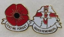 ULSTER REMEMBERS LEST WE FORGET PIN BADGE NORTHERN IRELAND RED HAND