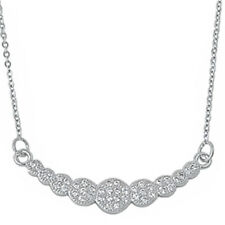 """WHITE CZ FASHION .925 Sterling Silver Pendant Necklace 16""""+1""""EXT"""