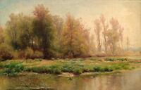 Large art Oil painting nice landscape autumn trees along the Thames river canvas