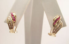 14K GOLD DIAMOND AND RUBY OMEGA CLIP EARRINGS NEW!
