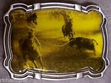 Pewter Belt Buckle Rodeo Steer Roping NEW