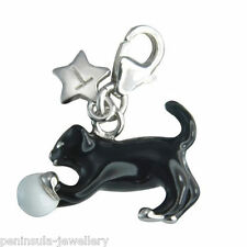 Tingle Kitten and Ball Sterling Silver Charm with Gift Bag and Box SCH174