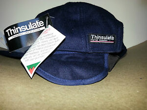 WYNNSTER 100% WOOL CAP - WITH SIDE FLAPS FOR EAR WARMTH in NAVY