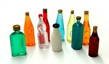 Dolls House 10 Mixed Coloured Drink Bottles Miniature Kitchen Pub Shop Accessory