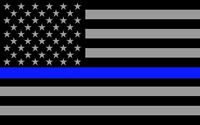 """x2 Subdued US Flag Reflective Decal with Thin Blue Line 4""""x2.5"""""""