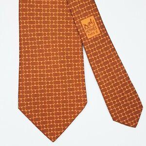 HERMES TIE 5225 IA Brown Geometric on Orange Classic Silk Necktie