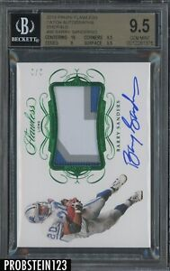 2019 Panini Flawless Emerald Barry Sanders HOF 3-Color Patch AUTO 2/2 BGS 9.5