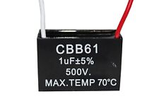Cbb61 500v 1uf Terminal Ceiling Fan Motor Running Rectangle Capacitor 2 Wires
