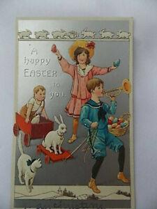 Antique Easter Postcard Children Cat Rabbit Toy Trumpet Vintage 1900s