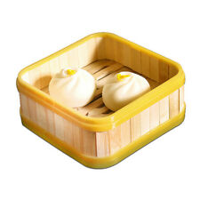 Square Food Cooking Basket Bamboo Steamer Steamed Buns Kitchen 5 inch