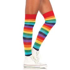Over the Knee RAINBOW Multi-Coloured Stripey Striped  Socks Pride Clown Fancy
