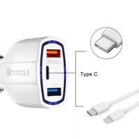 QC 3.0 Fast Quick Dual USB Car Charger With Type C connector for Android iPhone